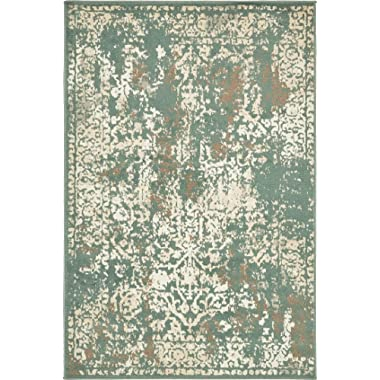 Unique Loom Tuareg Collection Vintage Distressed Traditional Green Area Rug (4' x 6')
