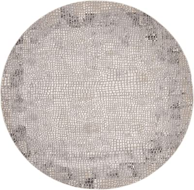 """Safavieh MDW184E-7R Meadow Collection Area Rug, 6'7"""" Round, Taupe/Grey"""