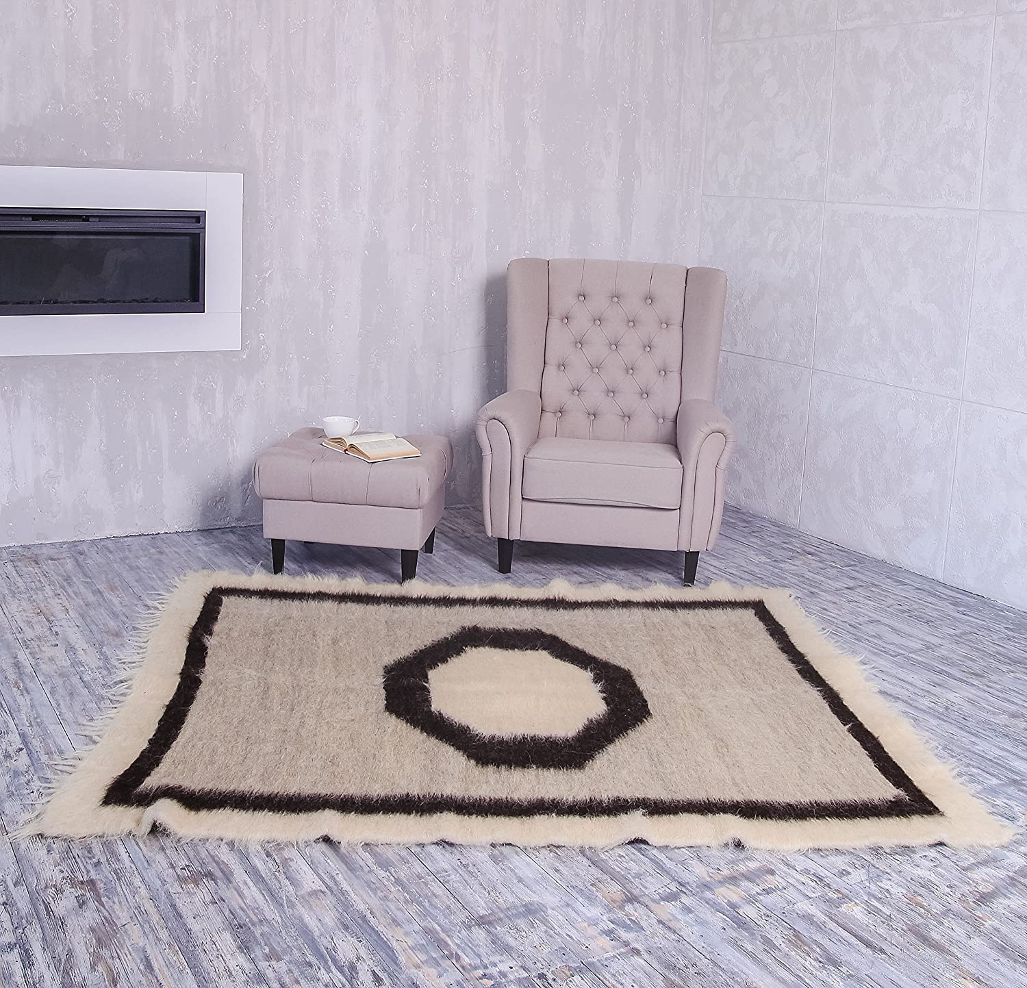 Living Room Centerpiece Rug Light Grey With Geometric Pattern Soft Fluffy Wool Area Rug Scandinavian Home Decor Many Sizes!