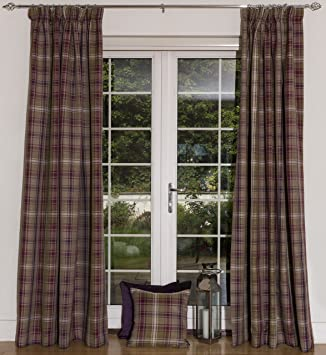 McAlister Textiles Angus | Large Designer Thick Soft Tartan Check Tweed  Pencil Pleat Tape Top Fully
