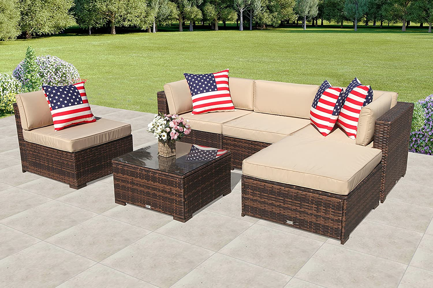 Patiorama outdoor patio sectional furniture 6 piece set all weather brown wicker sectional with beige seat cushions glass coffee table patio backyard