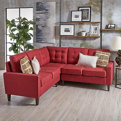 Amazon Com Niya Mid Century Modern Red 3 Piece Sectional Sofa