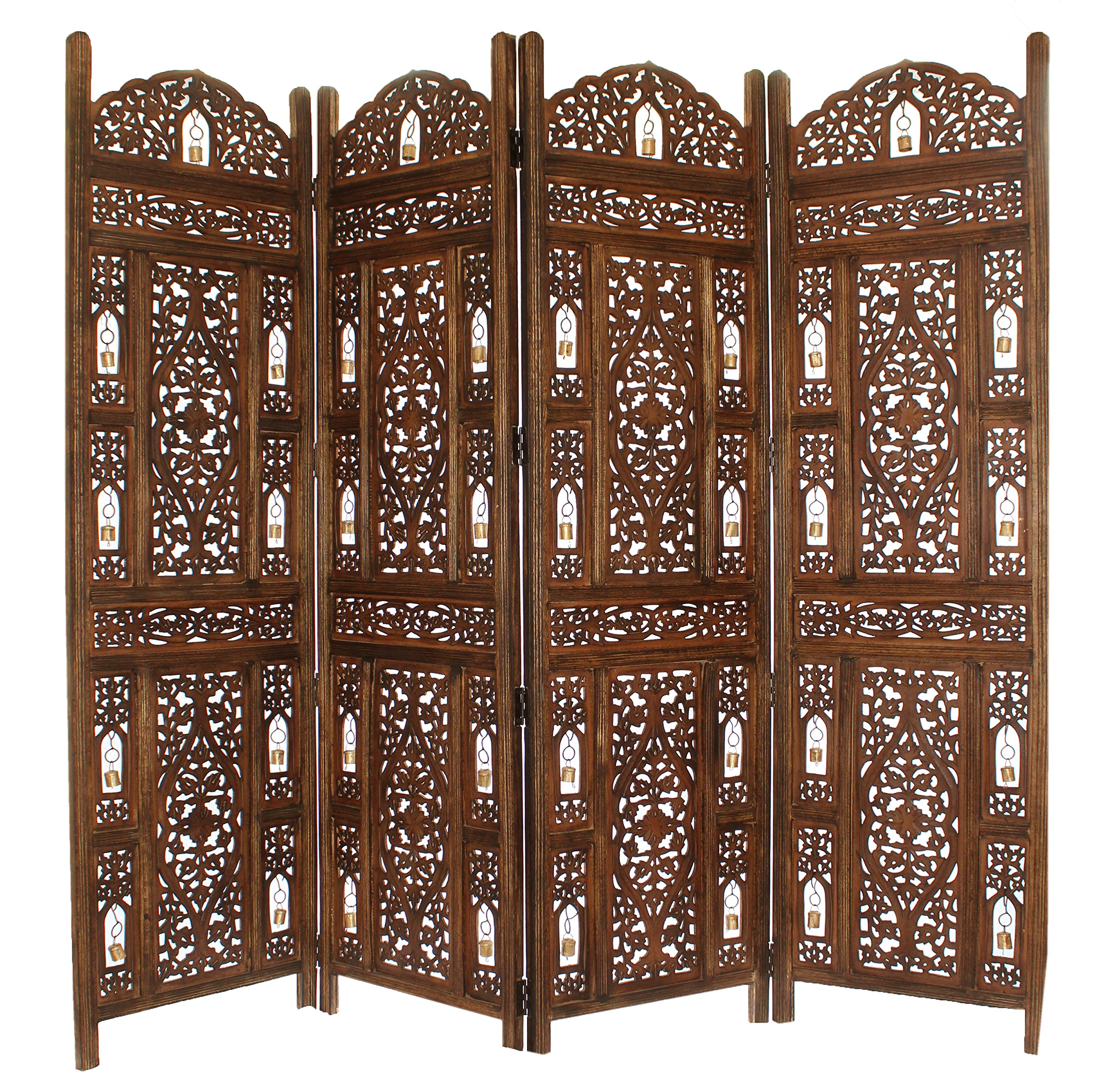 Cotton Craft Ghanti Bells - Antique Brown 4 Panel Handcrafted Wood Room Divider Screen 72x80 - With Tiny Bells - Intricately Carved On Both Sides by COTTON CRAFT