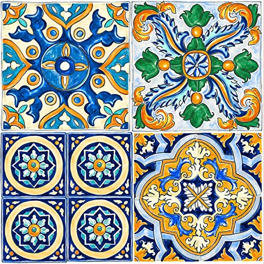 6 Con-Tact Brand FloorAdorn Vinyl Floor Appliques Self-Adhesive Decorative and Removable Tiles 12X12 Light Blue Moroccan