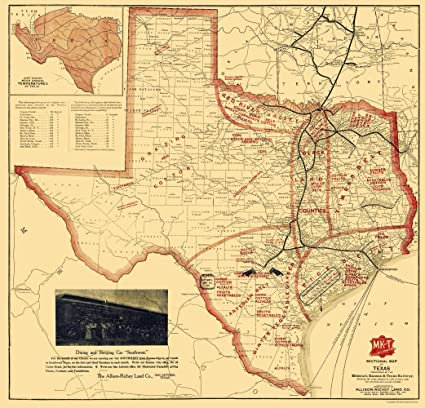 Railroad Map Of Texas.Amazon Com Old Railroad Map Missouri Kansas And Texas Railroad