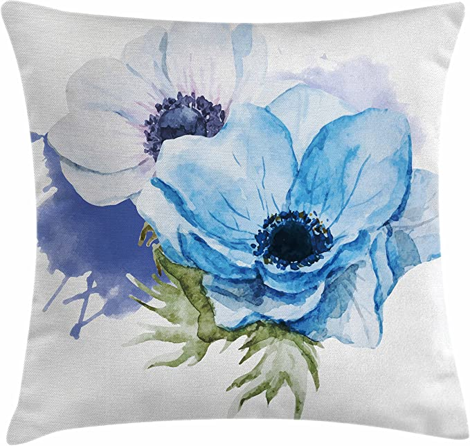 Amazon Com Ambesonne Anemone Flower Throw Pillow Cushion Cover Rustic Floral Design With Blooms In Watercolors Splashes Decorative Square Accent Pillow Case 16 X 16 Lavender Pale Blue Green Home Kitchen
