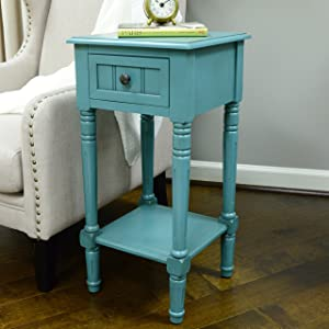 Décor Therapy FR1549 Simplify One Drawer Square Accent Table, Blue