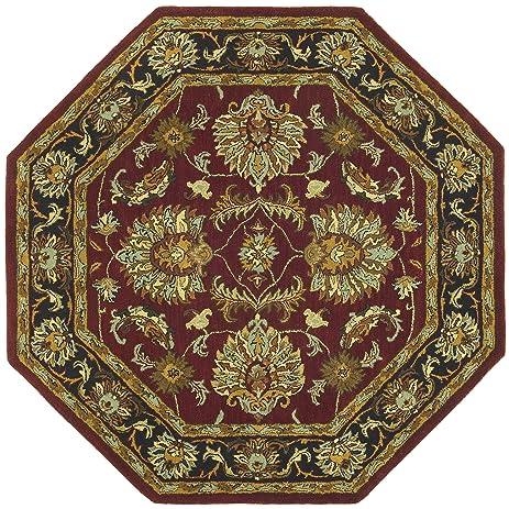 Traditions Agra Octagon Rug, 8 Feet By 8 Feet, Burgundy