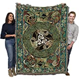 Ravens Panel - Celtic - Jen Delyth - Cotton Woven Blanket Throw - Made in The USA (72x54)
