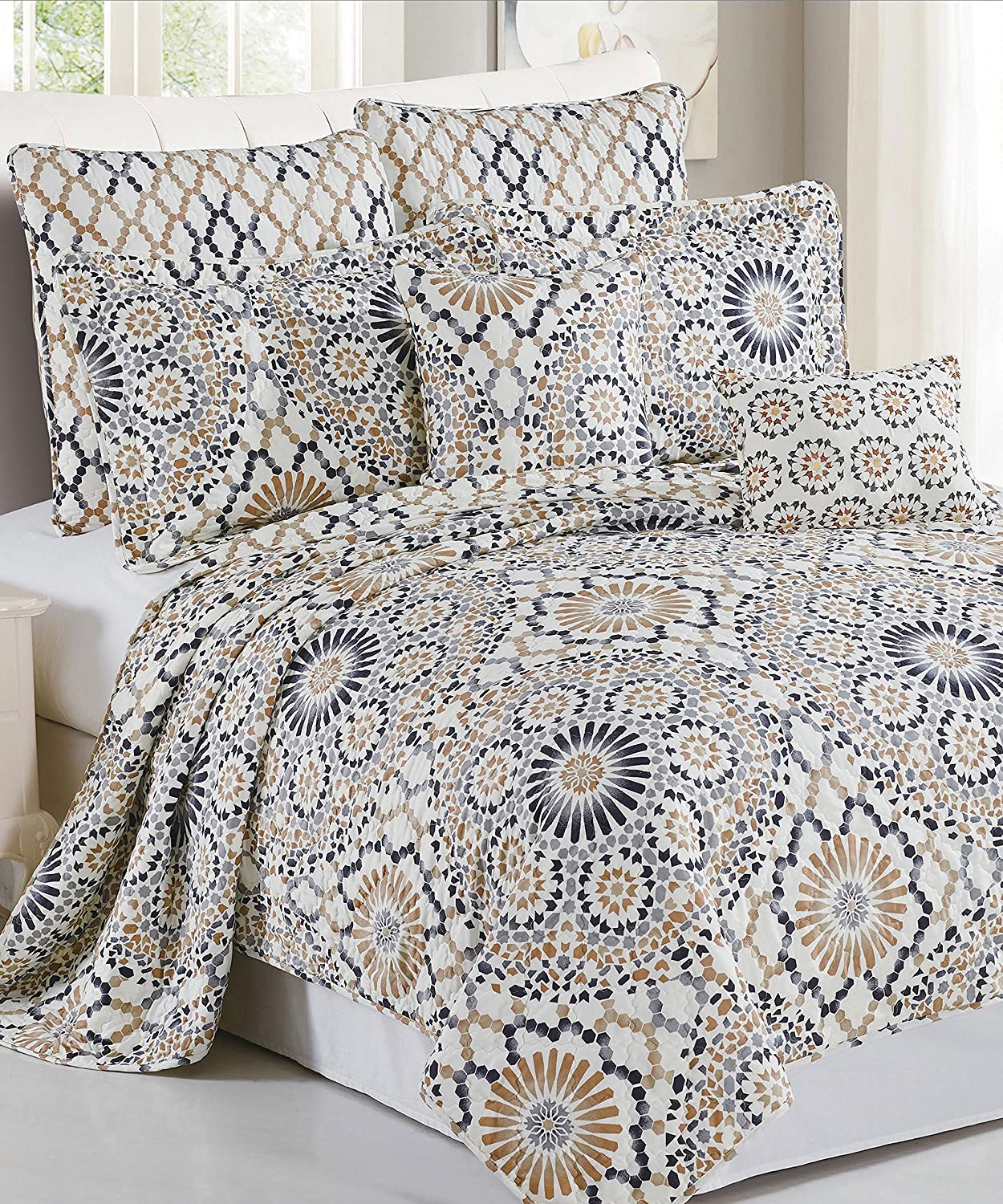 Serenta 7 Piece Printed Microfiber Tradewinds Bedspread Quilts Set, King