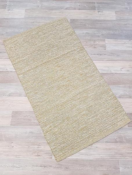 Garmisch fleckerl Alfombra Mallorca 60 x 90 cm 100% algodón beige: Amazon.es: Hogar