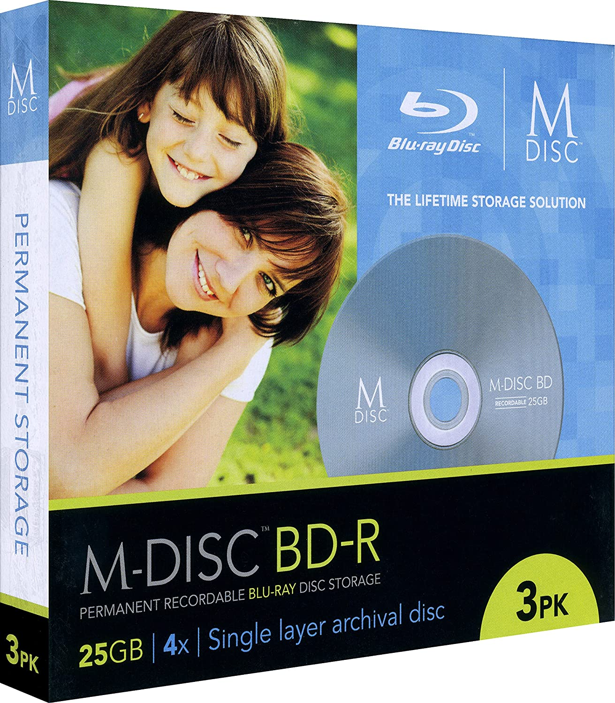 M-Disc 25GB Blu-ray Media - 3 Disc package in jewel cases Millenniata Inc. M-DISCBDRP3