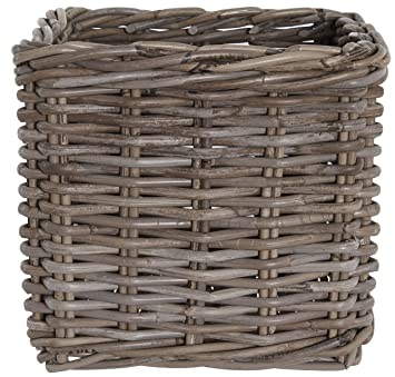 Grey Rattan Wicker Square Log Toy Storage Basket: Amazon.co.uk: Kitchen U0026  Home