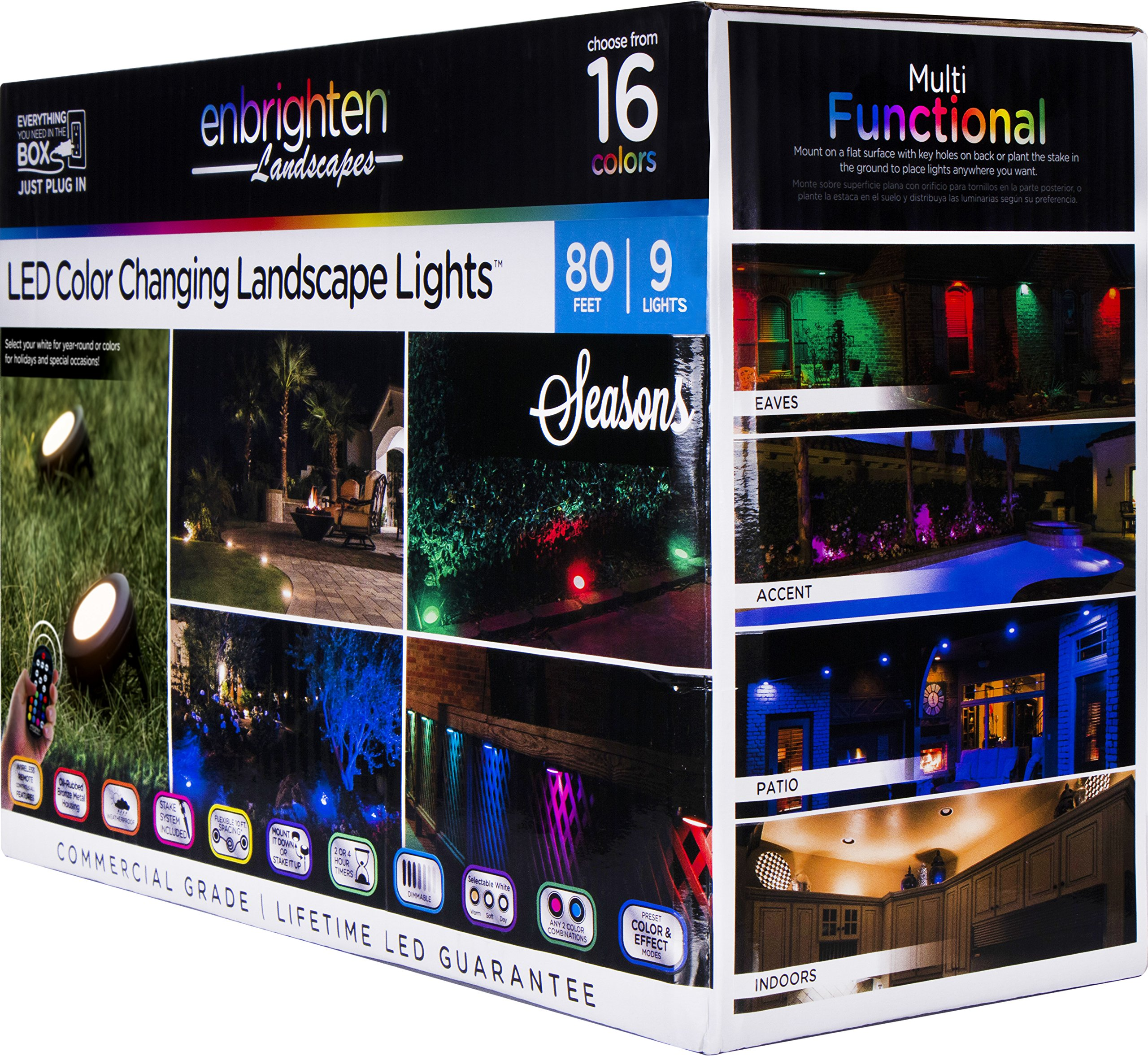 Enbrighten 41015 Seasons LED Landscape Lights (80ft.), Selectable White & Color Changing, 9 Lifetime Pucks, Wireless Remote, Outdoor, Commercial Grade, Weatherproof, Spotlight, Garden, Path Light