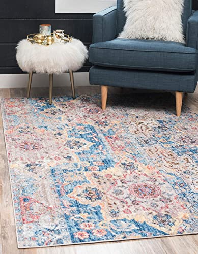 Unique Loom Basilica Collection Traditional Bohemian Colorful Vintage Blue Area Rug 8 0 x 10 0