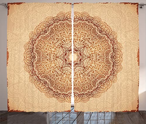 Ambesonne Mandala Curtains, Mystical Meditative Inner Sign Style Motif with Repeating Lines, Living Room Bedroom Window Drapes 2 Panel Set, 108 X 63 , Brown Tan