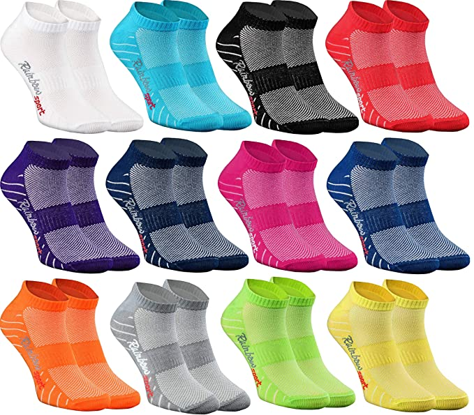 Rainbow Socks - Hombre Mujer Calcetines Deporte 9/12 Pares: Amazon ...