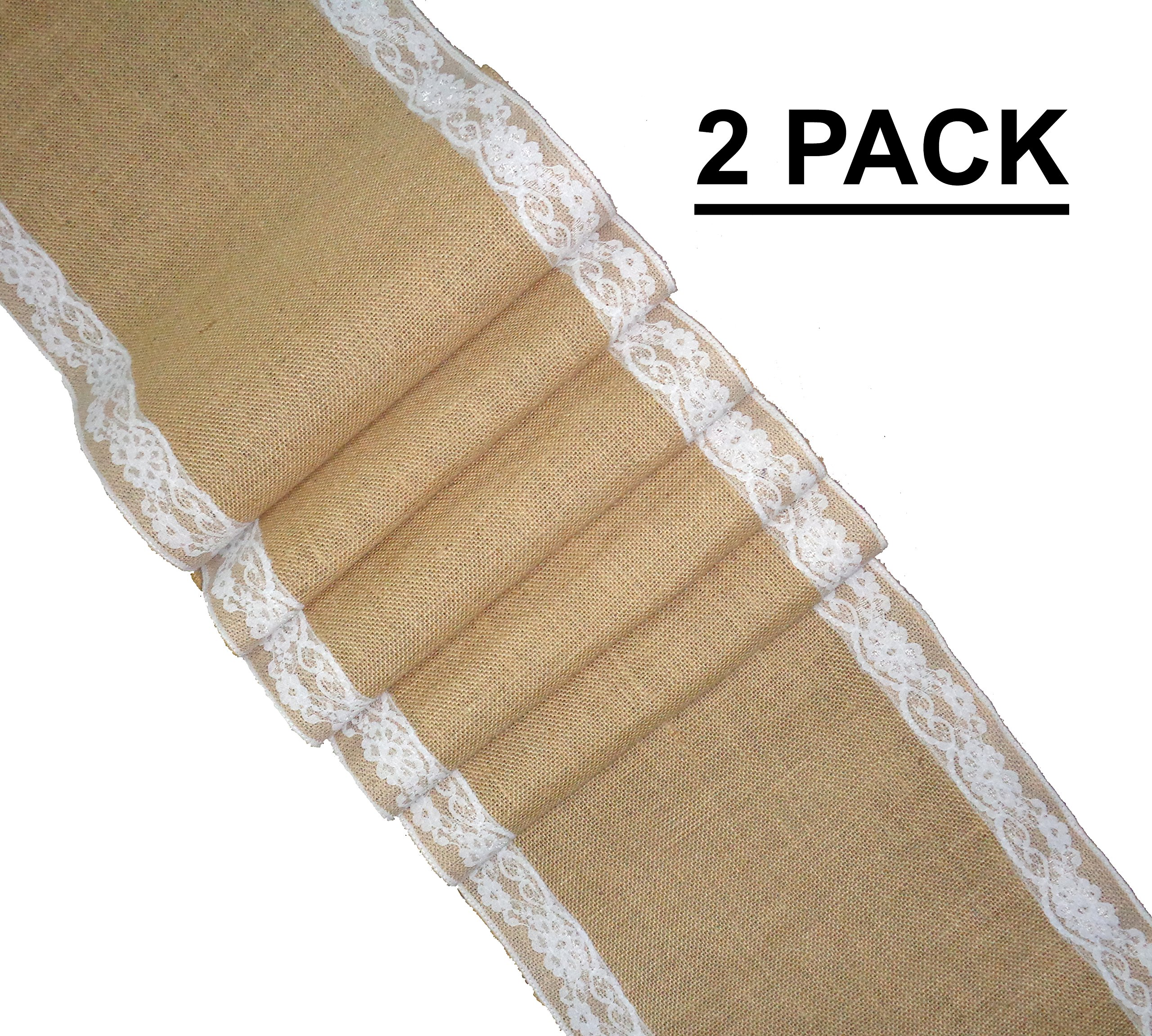 Cotton Craft - 2 Pack - Jute Burlap with Lace Table Runner 12x108 - Natural - Perfect accessory to dress up your dinner table - Spot Clean Only by Cotton Craft (Image #1)