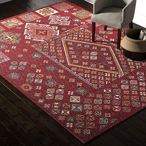 Rivet Red Mosaic Multi-Print Wool Rug, 7 10 x 11 , Red