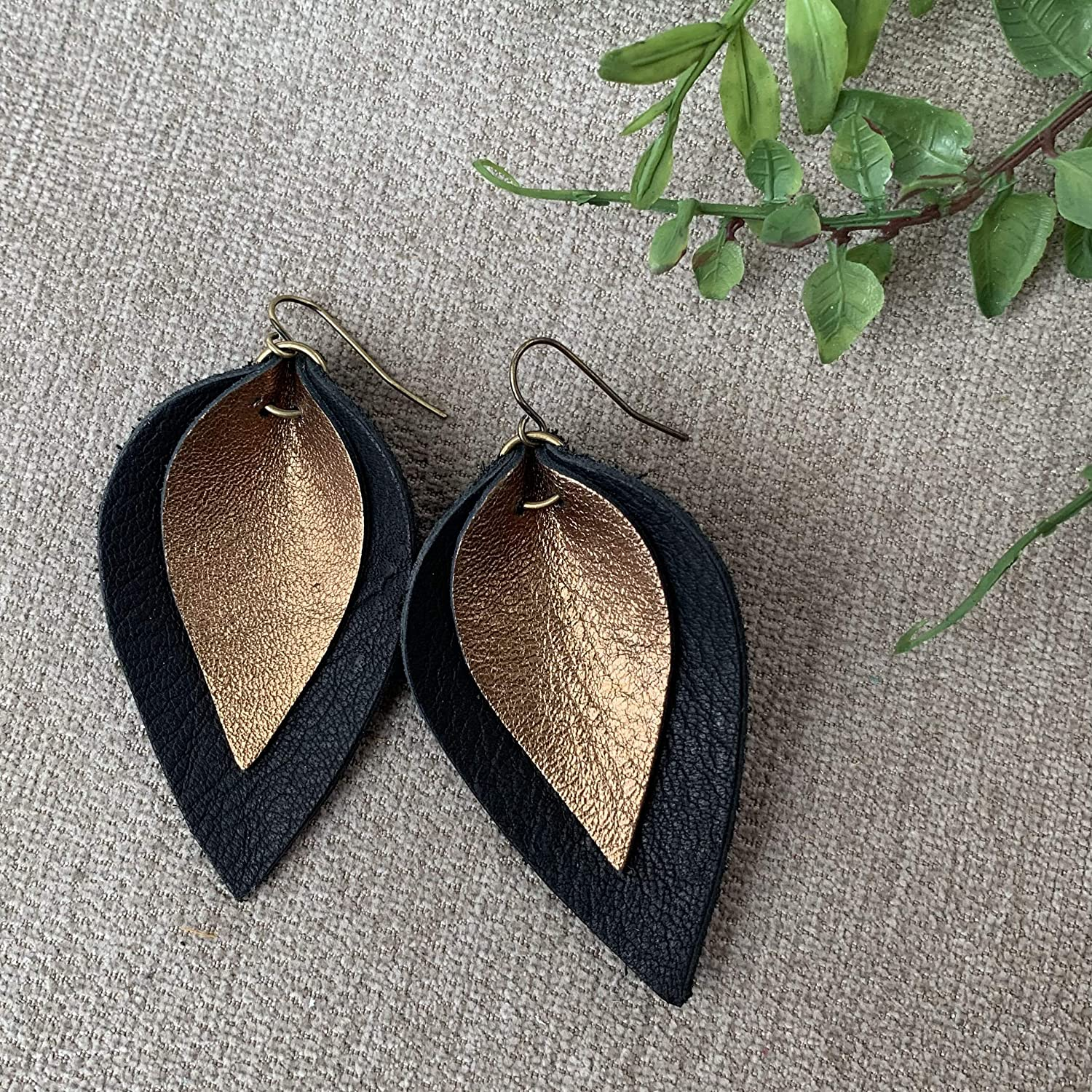 Black and Bronze Layered Leather Leaf Earrings