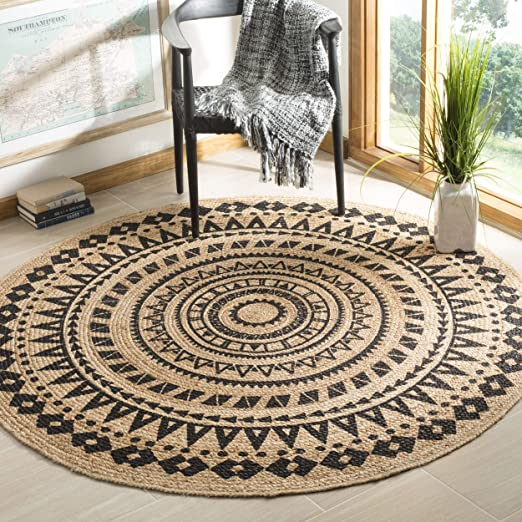Amazon Com Misc Black Jute Rug 3x3 Ft Natural Sisal Rug Seagrass Mat Geometric Carpet Round Shape For Bedroom Living Dining Room Indoor Mat Traditional Style Green Home Kitchen