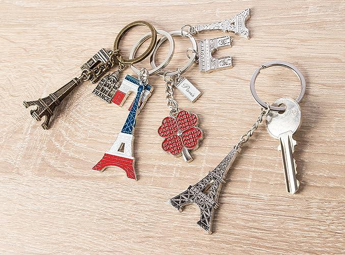 Amazon.com: Juvale Paris Llavero – 6 llaveros de recuerdo, 6 ...
