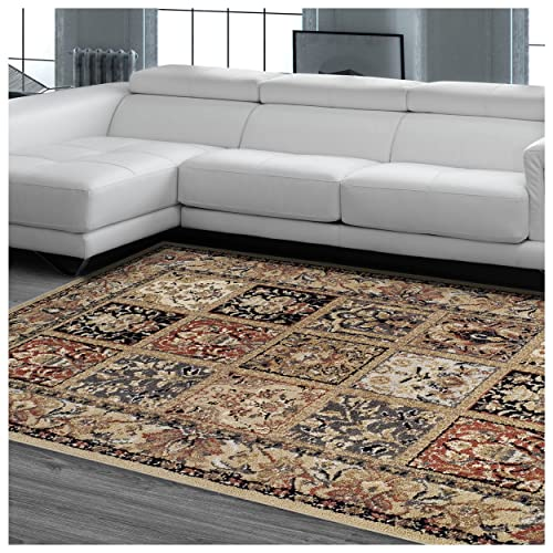 Superior Designer Hollingsworth Area Rug Collection, Vintage Distressed Persian Rug Design, 6mm Pile Height with Jute Backing, Affordable and Beautiful Rugs – 5 x 8