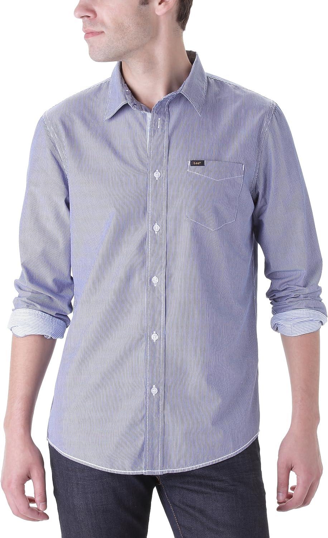 Lee - Camisa a Rayas de Manga Larga para Hombre, Talla 2XL, Color Azul Oscuro (Night Blue): Amazon.es: Ropa y accesorios