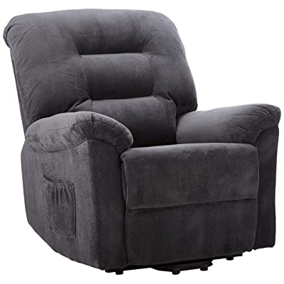Coaster Casual Chenille Fabric Upholstered Power Lift Recliner, Charcoal