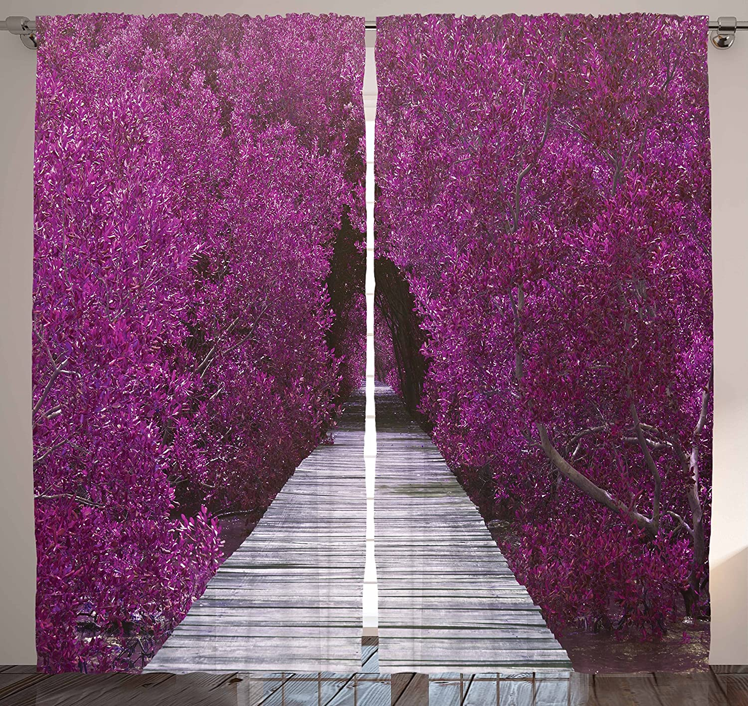 Ambesonne Eggplant Curtains Nature Landscape Decor, Purple Flower Trees Aisle Panoramic Prospective Theme View Picture Print, Bedroom Living Room Curtain 2 Panels Set, 108 X 90 Inches, Purple Gray