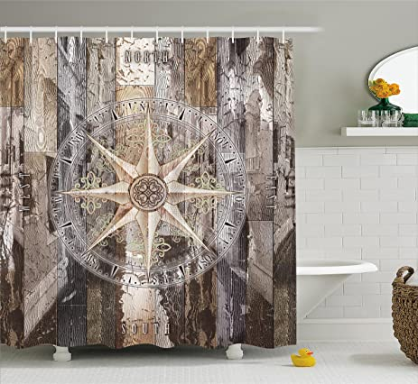 Marine Life Shower Curtain By Ambesonne, Navy Sea Life Yacht Theme Colored  Wood Backdrop With
