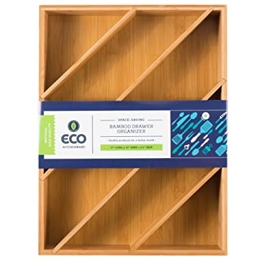"""Diagonal Space Saving Bamboo Drawer and Cabinet Organizer Divider fits Drawers 17"""" X 12"""" X 2.5"""" by Eco Kitchenware"""
