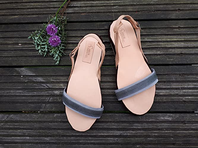 a424c2921bbcd Leather summer sandals - Handmade - Grey/Beige leather shoes -Flat ...