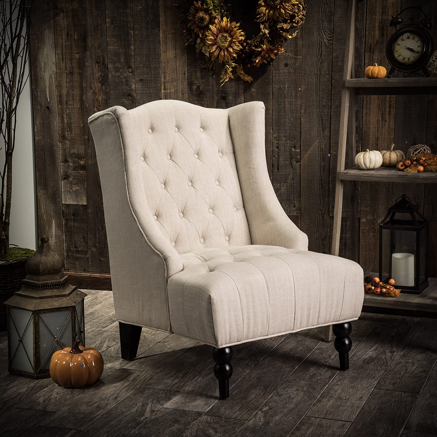Clarice Tall Wingback Light Beige Tufted Fabric Accent Chair