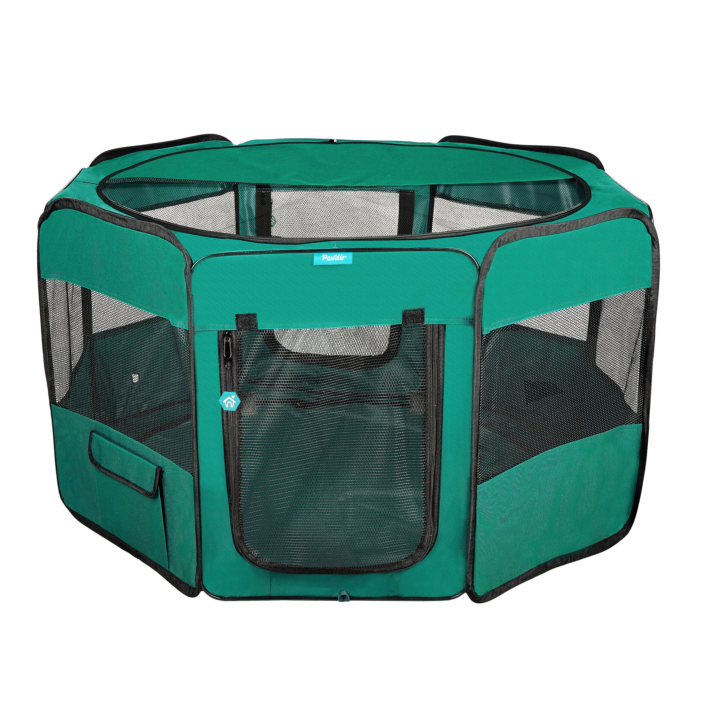 Deluxe Premium Pet Dog Playpen Portable Soft Dog Exercise Pen Kennel with Carry Bag for Dogs, Cats, Kittens, and All Pets (Large, Green) by Pawdle
