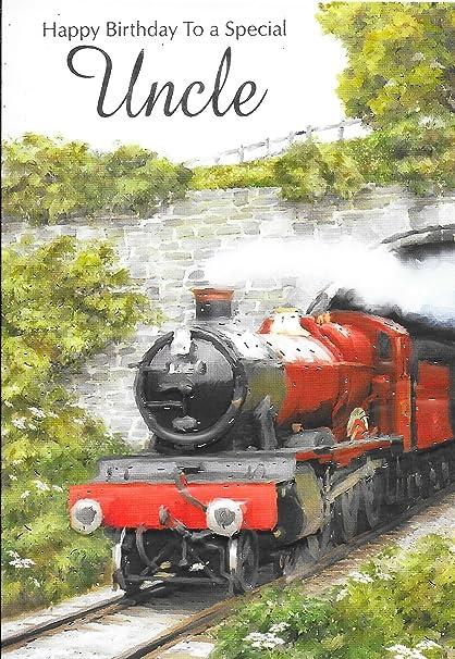 Uncle Tarjeta de cumpleaños * * Rojo diseño de tren ...