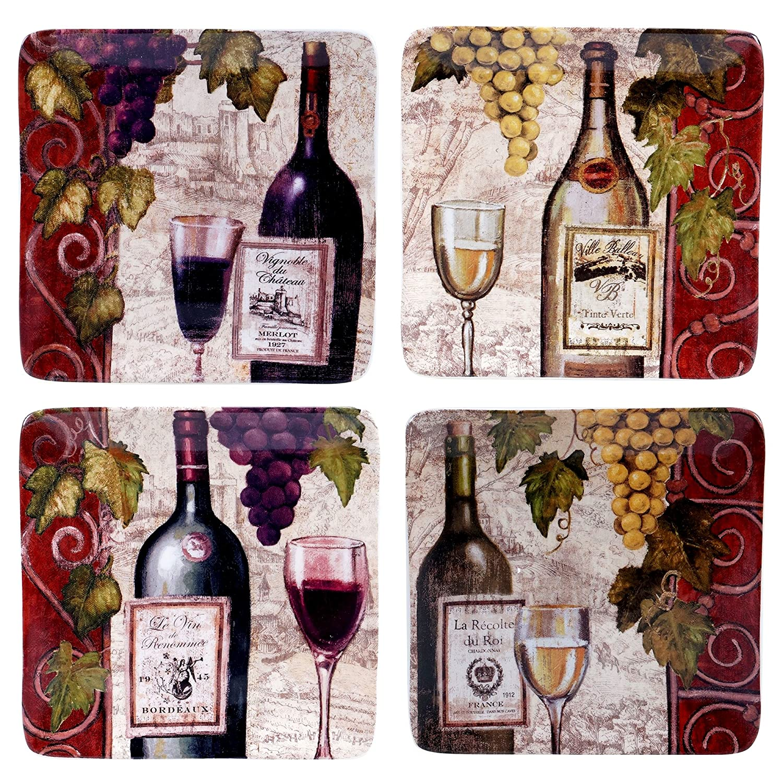 Certified International 57451SET/4 Wine Tasting Salad/Dessert Plates (Set of 4), 8.25-Inch, Multicolor