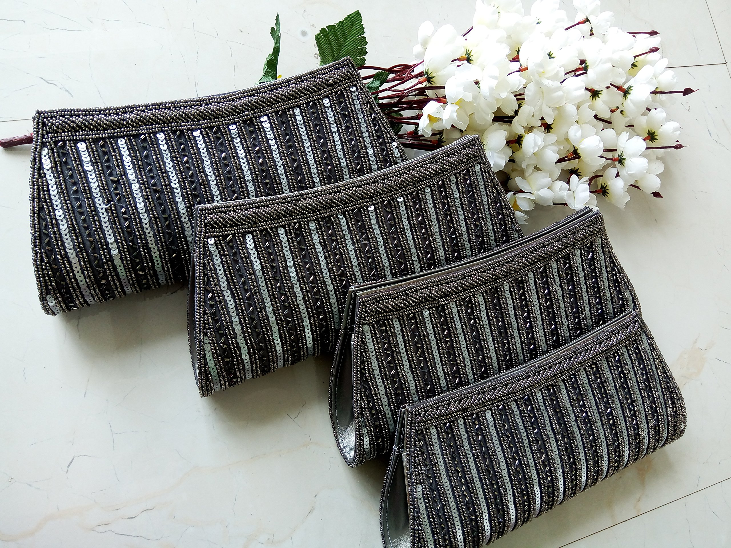 Gray Beaded clutch Indian wedding bags Bridal clutches set of 4 Women wallet Bridesmaids Gift Bag Indian wedding purse