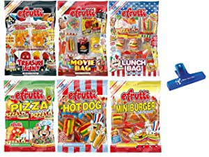 eFrutti Gummi Candy Variety, Treasure Hunt, Movie Bag, Lunch Bag, Pizza, Hot Dog, and Mini Burger, 2.2 Ounce (Pack of 6) - with MYD Bag Clip