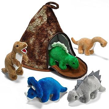 Prextex Casa Volcán de Dinosaurio con 5 Dinosaurios de Peluche - Gran Regalo de Navidad para