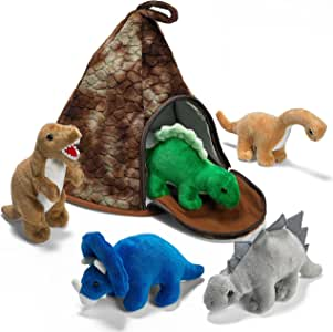Prextex Dinosaur Volcano House with 5 Plush Dinosaurs Great for Kids Plush Toys for Toddlers