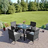 New 5 Piece Rattan Dining Table For Conservatory, Patio, Garden Furniture (Dark Mixed Grey)