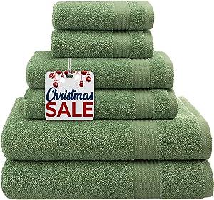 Hotel & Spa Quality, Absorbent & Soft Decorative Kitchen & Bathroom Sets, 100% Turkish Genuine Cotton 6 Piece Towel Set, Includes 2 Bath Towels, 2 Hand Towels, 2 Washcloths - Sage Green