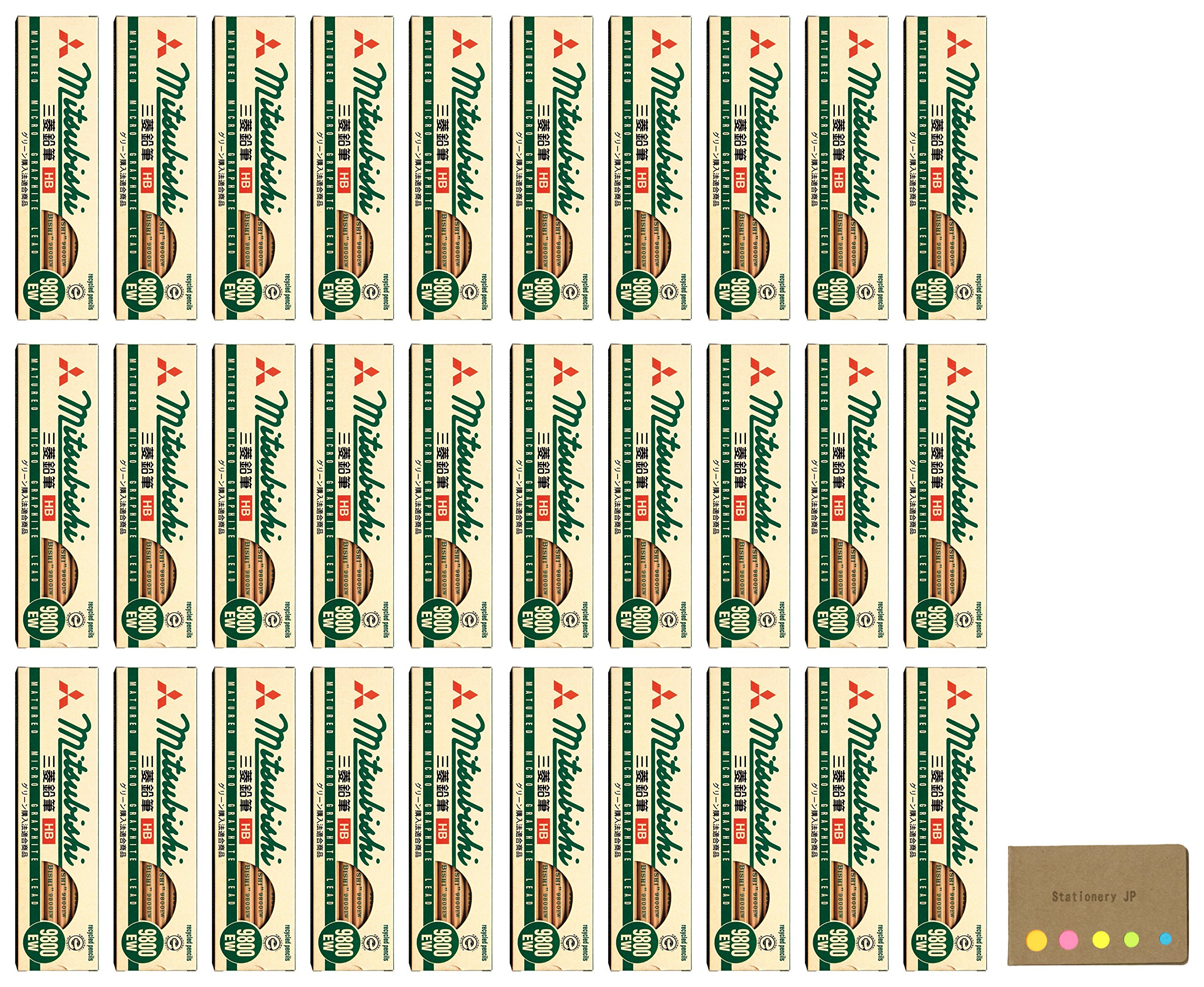 Uni Mitsubishi 9800EW Recycling Pencil, HB, 30-pack/total 360 pcs, Sticky Notes Value Set by Stationery JP (Image #1)