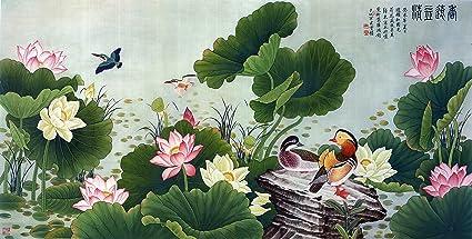 Amazon asian art japanese wall art decor canvas prints canvas asian art japanese wall art decor canvas prints canvas art love birds lotus flower mightylinksfo