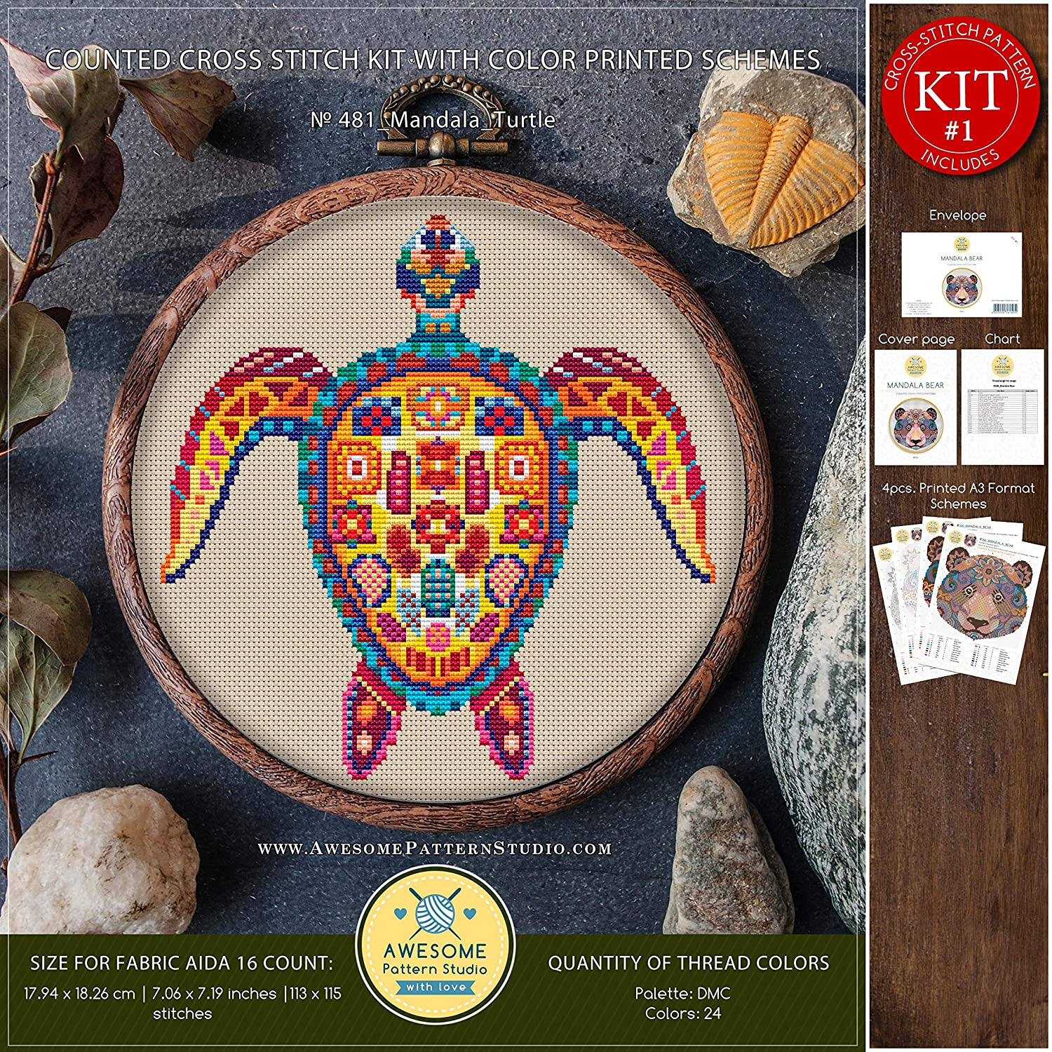 Cross Pattern How to Cross Stitch Funny Animals Cross Stitch Patterns Mandala Turtle #K481 Cross Stitch Embroidery Kit Needlepoint Kits