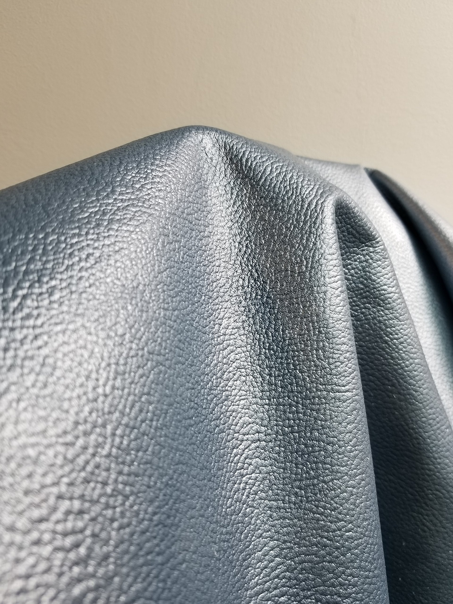 NAT Leathers Blue Silver Pearlized Metallic (Bluelight) Embossed Pebblegrain 3 Oz Semi Firm Upholstery Craft Cowhide Genuine Leather Hide Skin Square Feet (18-22 sq.ft.)