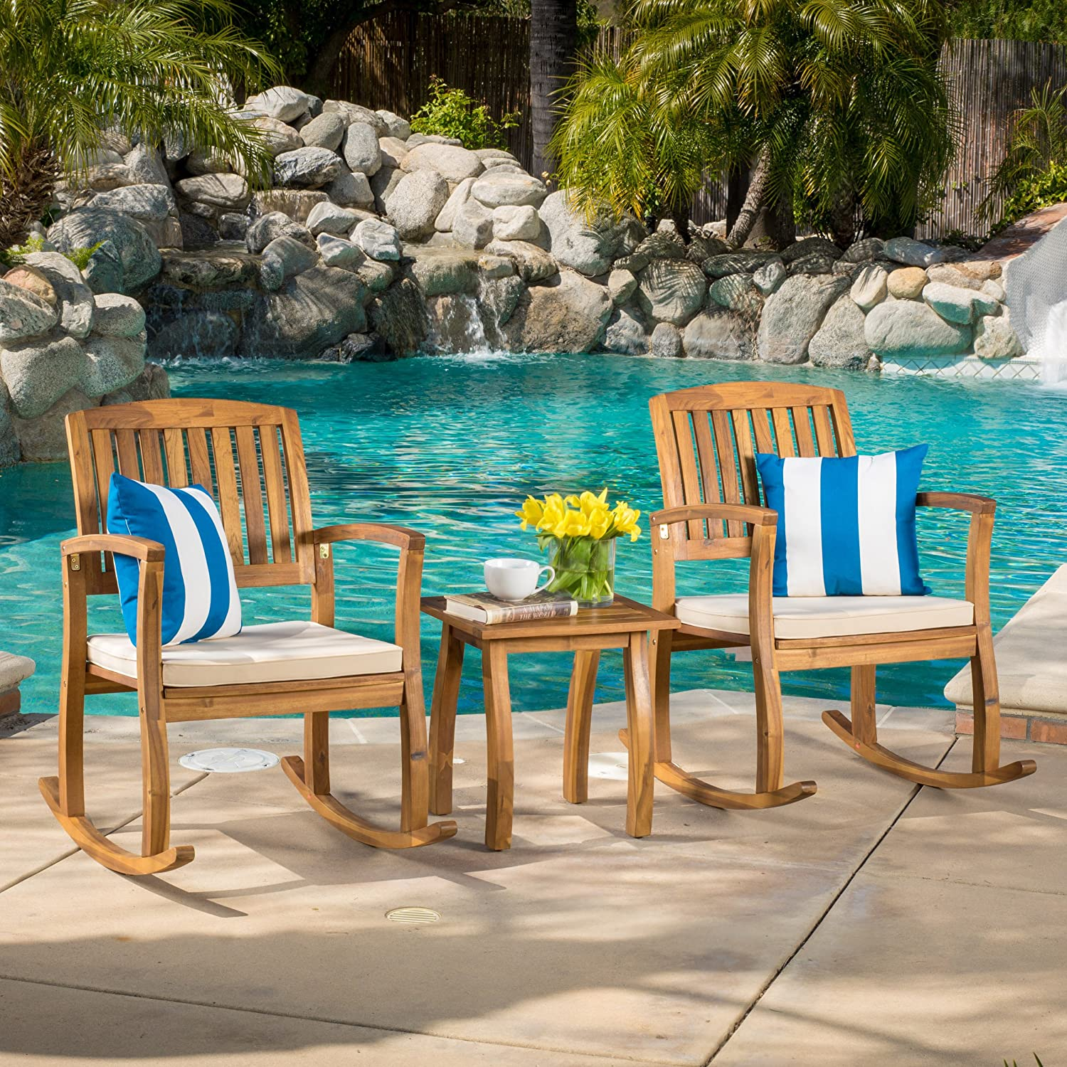 Christopher Knight Home 297254 South Hampton Rocking Chair with Cushion Set of 2 and Acacia Accent Table, Dimensions 33.25 D x 24.00 W x 35.75 H, Set Teak Finish