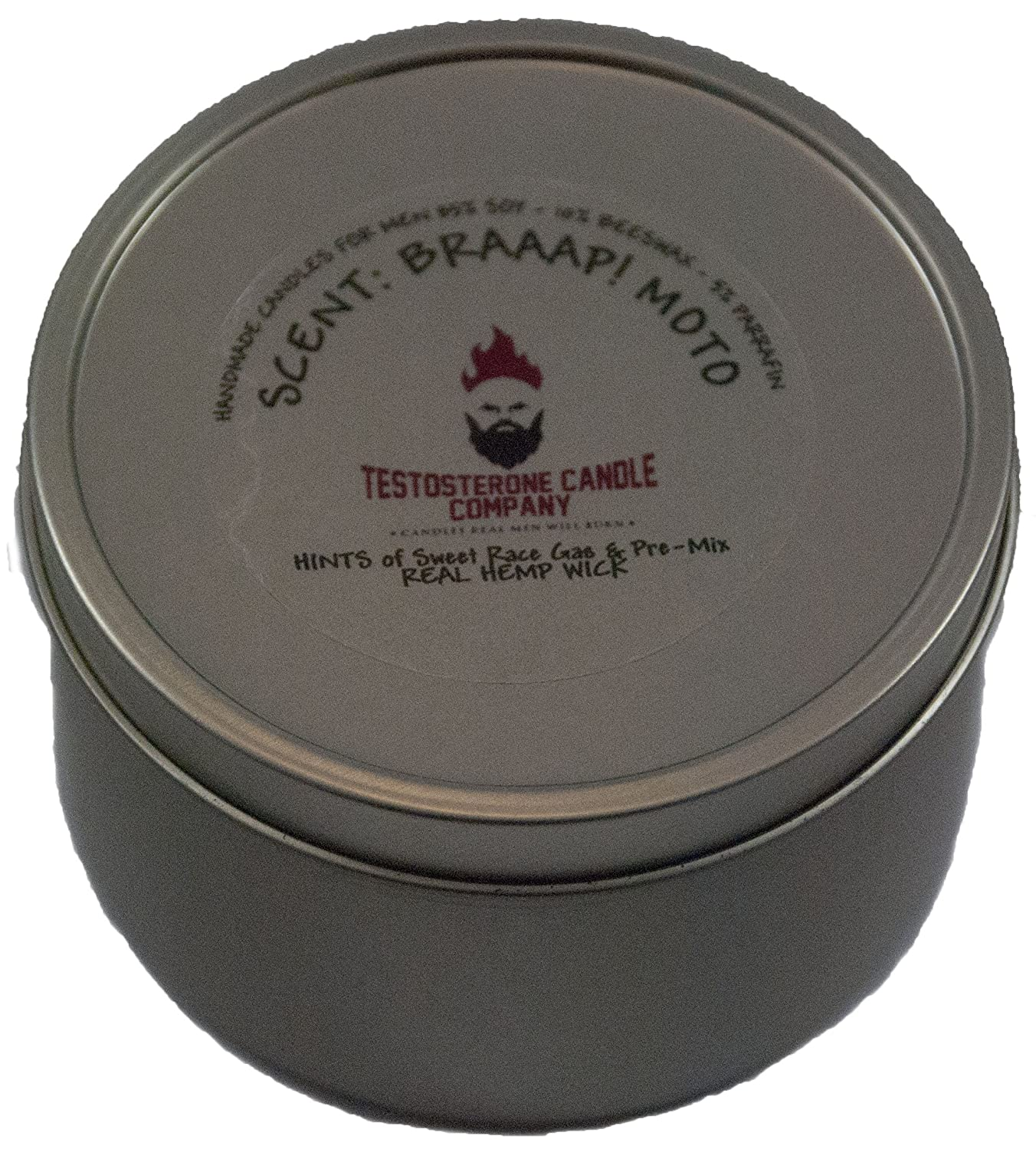 Testosterone Candle Company Braap! Moto Motocross Race Gas, Castor Oil & Dirt Scented Motocross Candle 8oz