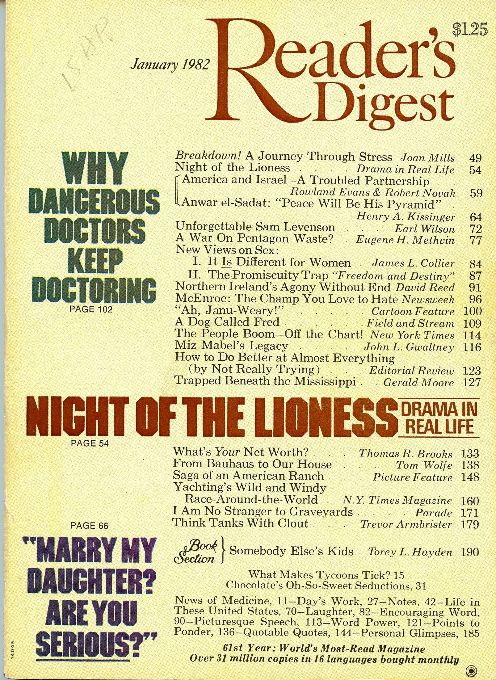 Reader's Digest Magazine, January 1982: Dewitt: Amazon com